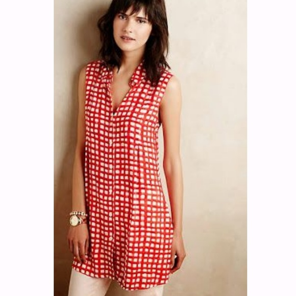 6a8f6d68bb0d Anthropologie Dresses & Skirts - Anthro 11-1 Tylho Percy Red white gingham  tunic